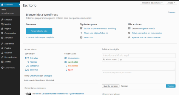 WordPress Mp6 – dashboard